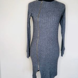 FREELOADER Chic Gray Sweater Dress w Front Zipper
